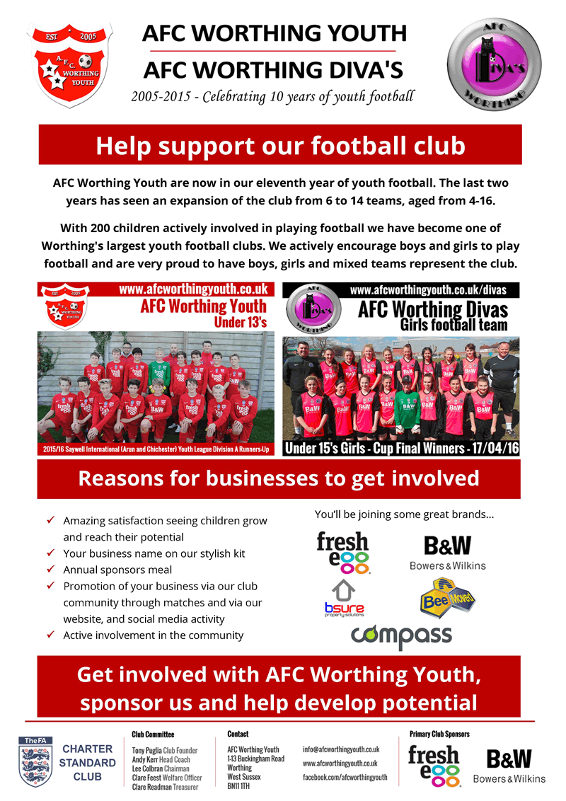 AFC Worthing Youth Football Club Sponsorship