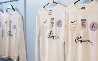 Girls football kits in changing room
