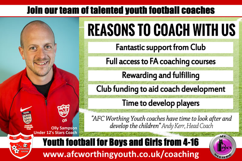 Become a football coach at AFC Worthing Youth Football Club