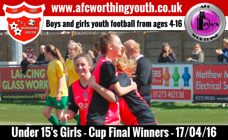 Worthing girls celebrate one of their goals against Chichester