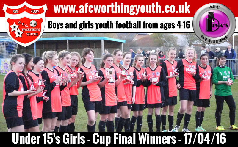 AFC Worthing Youth Divas with their winners medals