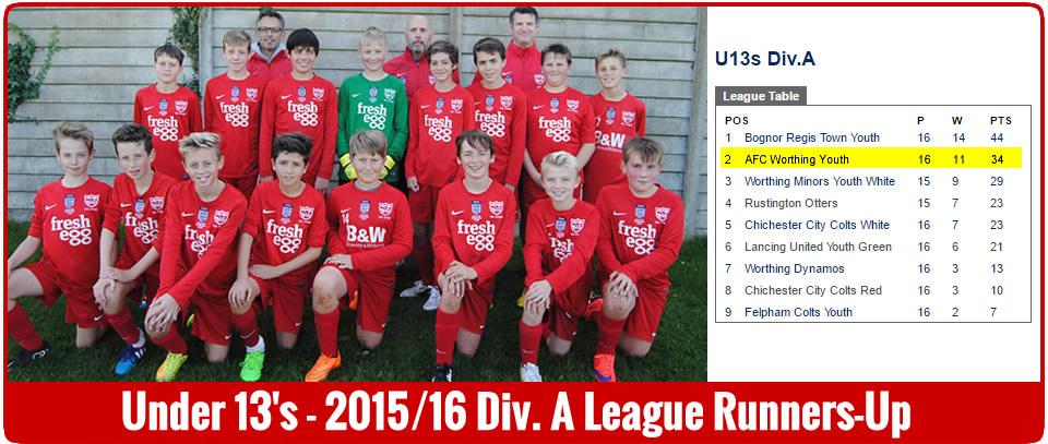 Under 13's - Div A. League Runners-Up 2015-16